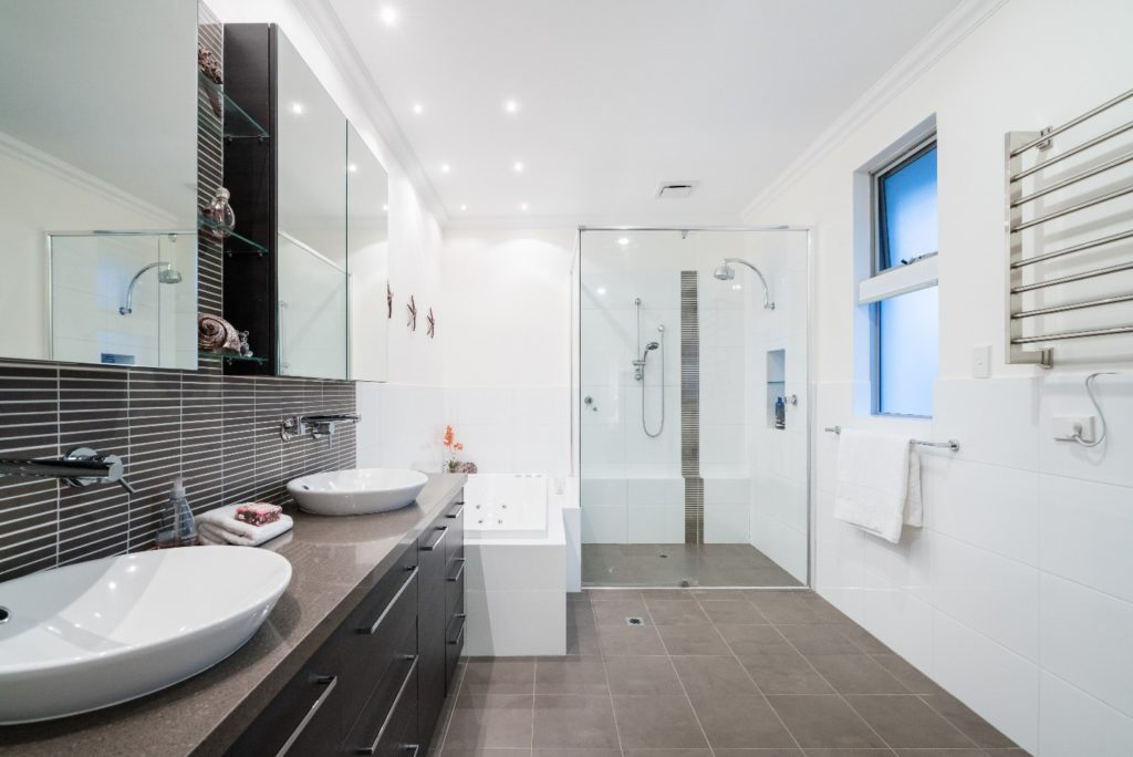 modern bathroom with geometric lines and shapes