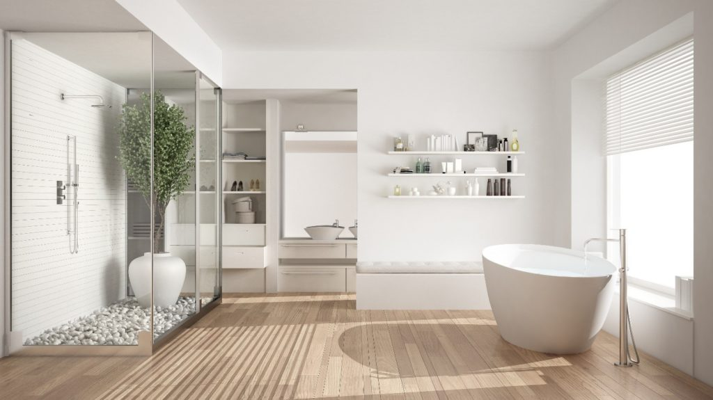 modern bathroom with open floor plan